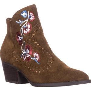 Carlos Santana Embroidered LEATHER Cowboy Booties